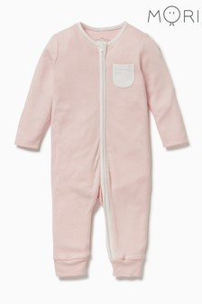 MORI Pink Zip-Up Sleepsuit