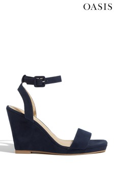 Oasis Blue Suede Open Toe Wedges