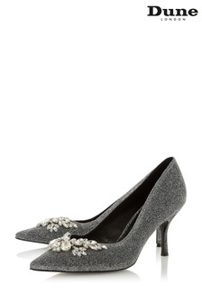 Dune London Silver Bianca Jewel Embellished Pointed Toe Court Shoes