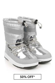 Girls Silver Waterproof Boots