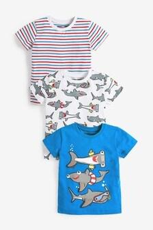 3 Pack Interactive Shark T-Shirts (6mths-7yrs)