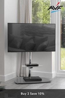 AVF Iseo Corner Pedestal TV Stand 800 Chrome / Clear Glass