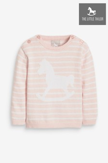 The Little Tailor Pink/White Knit Jumper