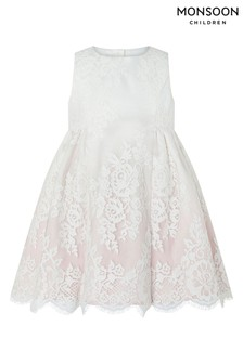 Monsoon Pink Baby Victoria Lace Dress
