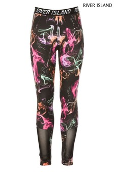 River Island Black Active Smoke Print Leggings