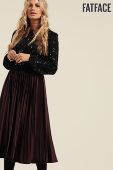 FatFace Copper & Black Harriet Pleated Skirt