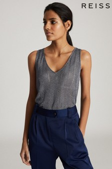 Reiss Blue Alice Metallic Knitted Top