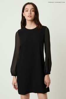 French Connection Black Aada Crepe Sheer Sleeve Shift Dress