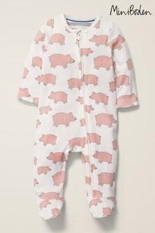 Boden Pink Unisex Printed Zip Sleepsuit