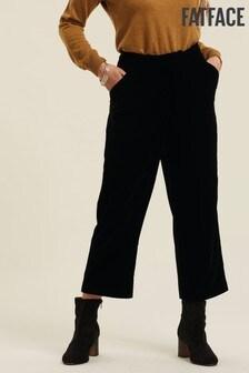 FatFace Copper & Black Manon Velvet Crop Trousers