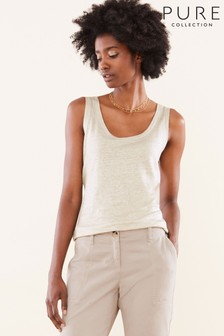 Pure Collection Natural Luxury Linen Jersey Vest