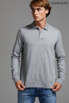 Calvin Klein Grey Liquid Touch Long Sleeve Poloshirt