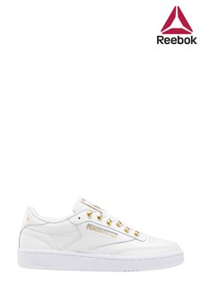 Reebok White/Gold Club C 85 Trainers