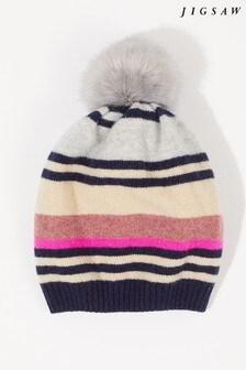 Jigsaw Natural Modern Stripe Wool Hat