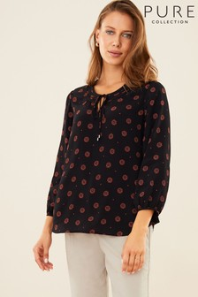 Pure Collection Black Drapey Tie Neck Blouse