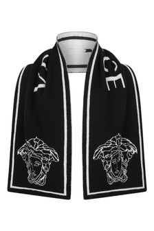 Boys Black Wool Logo Scarf