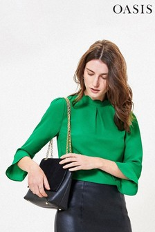 Oasis Green Scallop Flute Sleeve Top