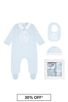 Boys Blue Cotton Babygrow Three Piece Set