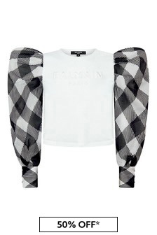 Balmain Girls White Cotton T-Shirt