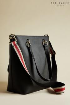 Ted Baker Amarie Einkaufstasche mit gewebtem Logo-Tragegurt, schwarz