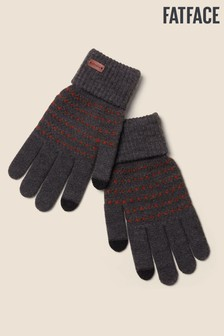 FatFace Grey Textured Knit Gloves