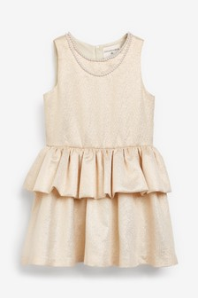 Charabia Gold Pearl Detail Tiered Dress