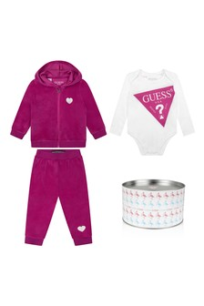 Baby Girls Raspberry & White Tracksuit Set (3 Piece)