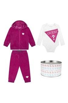 Baby Girls Raspberry & White Tracksuit Set (3 Piece)
