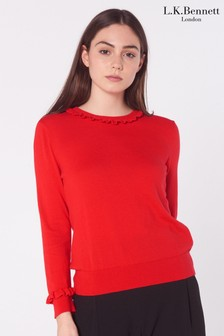 L.K. Bennett Red Hazel Wool Blend Frill Jumper