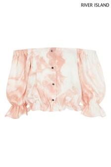River Island Pink Marble Bardot T-Shirt