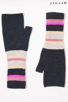 Jigsaw Grey Modern Stripe Wool Mittens