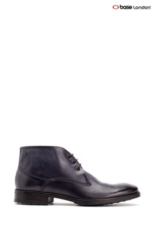 Base London® Blue Bramley Burnished Lace-Up Ankle Boots