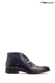 Base London® Blue Bramley Burnished Lace-Up Ankle Boots