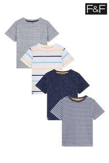 F&F Multi Blue 4 Pack T-Shirt