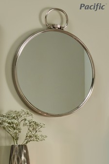 Shiny Nickel Round Wall Mirror by Pacific Lifestyle