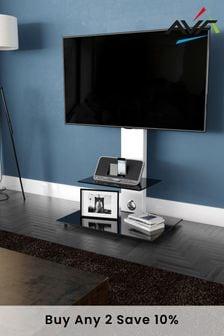 AVF Lesina Flat Pedestal TV Stand 700 Satin White / Black Glass