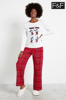 F&F Red Mickey Mouse Heads Pyjama Set