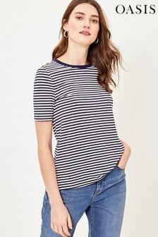Oasis Blue Stripe Step Hem T-Shirt