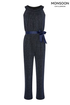 Monsoon Blue Halter-Neck Shimmer Jumpsuit