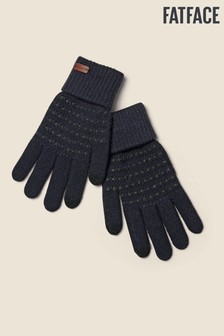 FatFace Blue Textured Knit Gloves