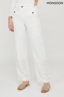 Monsoon White Charlotte Regular Length Linen Trousers