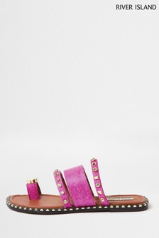 River Island Pink  Bright 1327 Toe Loop Gem Sandals