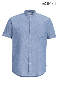 Esprit Blue Short Sleeve Stand Up Collar Shirt