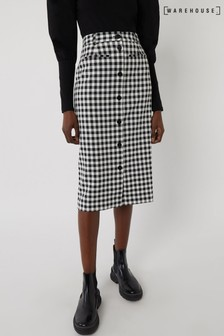 Warehouse Black Pattern Gingham Skirt