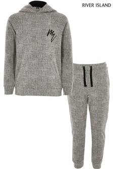 River Island Grey Checked Hoody Set