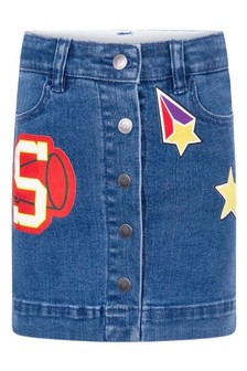 Girls Blue Denim Badges Skirt
