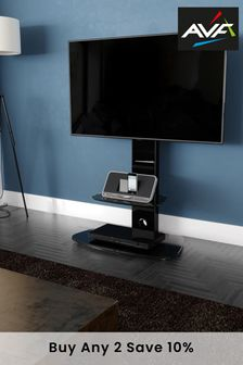 AVF Lucerne Curved Pedestal TV Stand 700 Black / Black Glass
