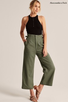Abercrombie & Fitch Olive Satin Culottes