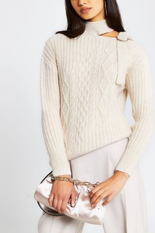River Island Beige Light Decon Neck Jumper