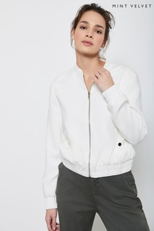 Mint Velvet White Ivory Textured Bomber Jacket
